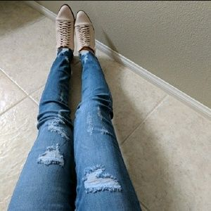 Denim - Distressed High Waist Ripped Skinny Jeans